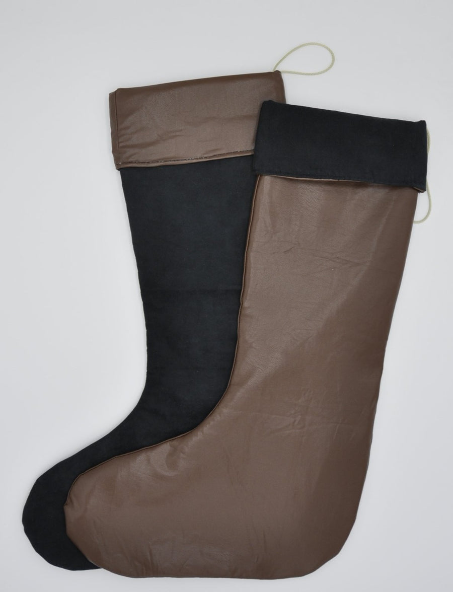 Christmas Stocking - Brown Leather with Black