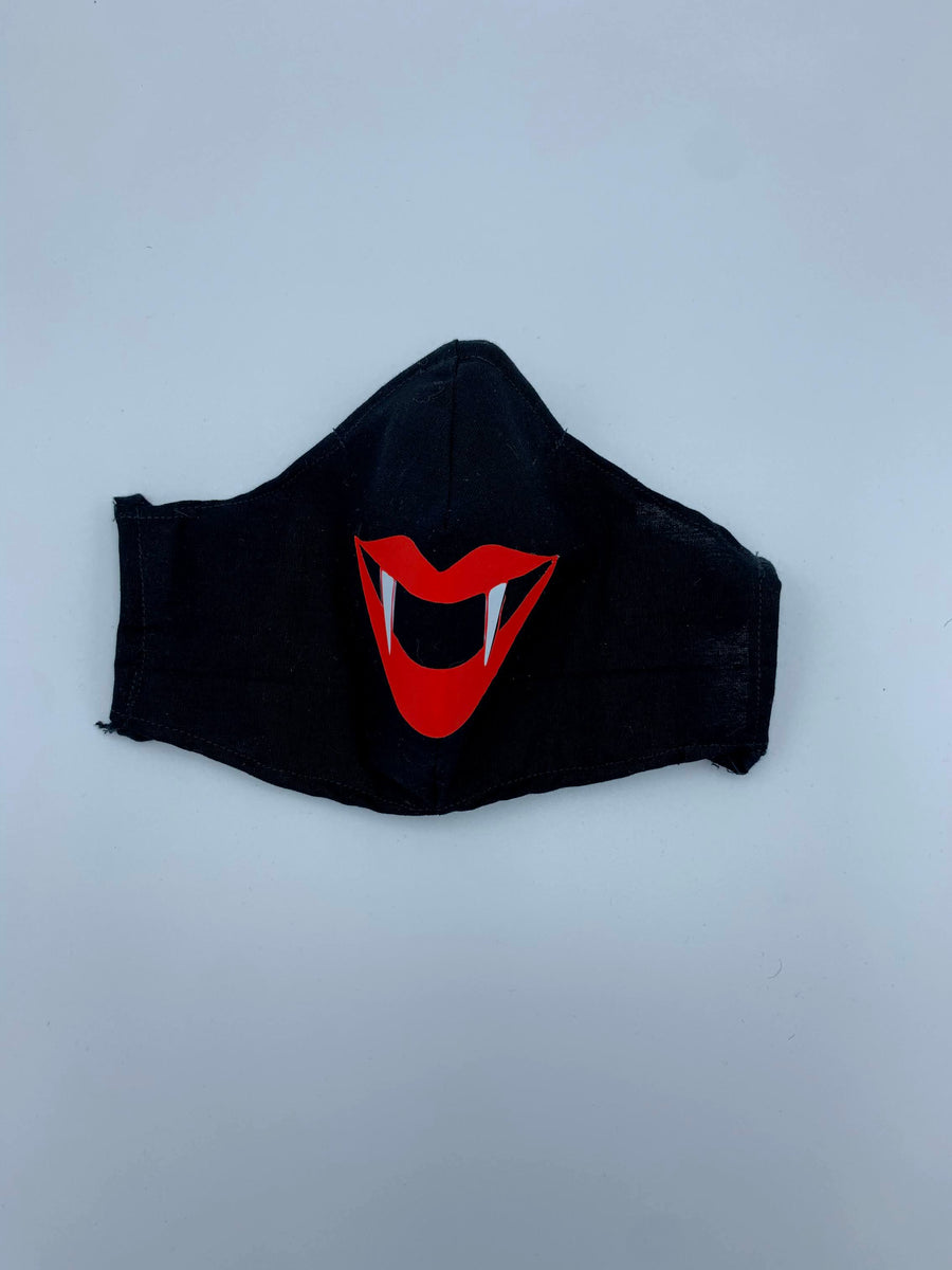 Halloween theme- red vampire lip on  Black - Non Surgical Mask