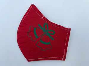 Christmas theme - green jingle bells on red  - Non Surgical Mask