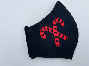 Christmas theme - red candy cane on black  - Non Surgical Mask