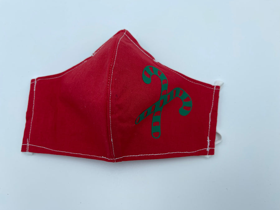 Christmas theme - green candy cane on red  - Non Surgical Mask