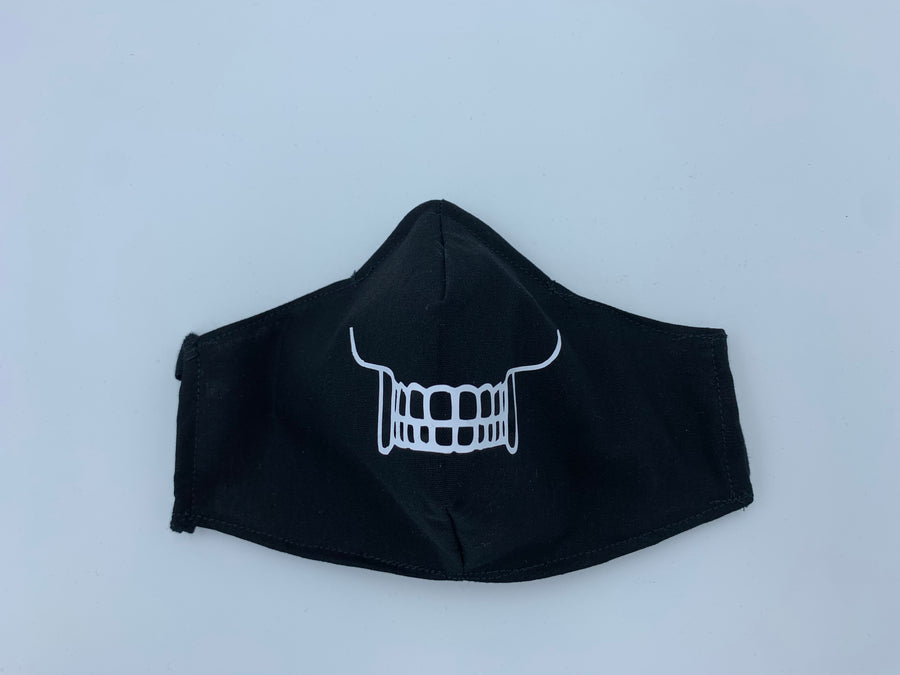 Halloween theme- skeleton jaw on  Black - Non Surgical Mask
