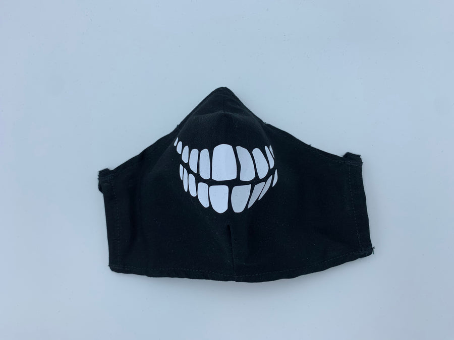 Halloween theme- skeleton teeth on  Black - Non Surgical Mask