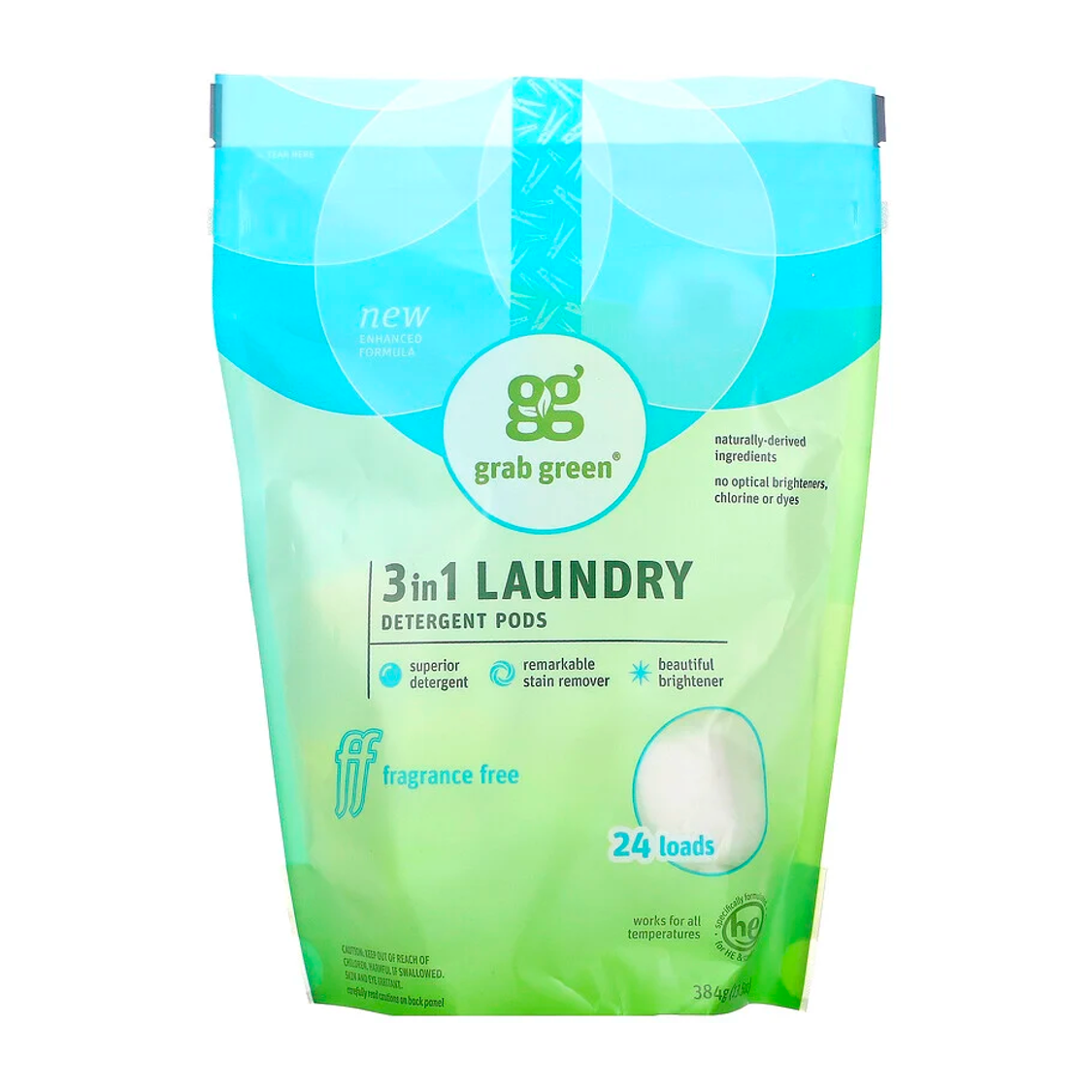 Grab Green 3 in 1 Laundry Detergent Pods - Fragrance Free (24 Loads)