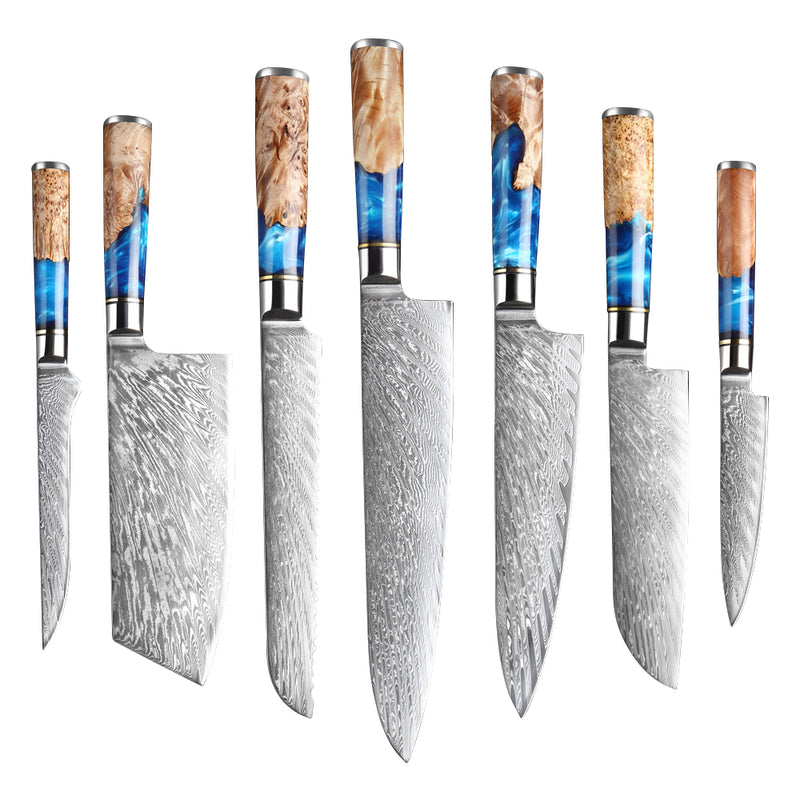 Damascus VG10 Steel Chef Knives - Value Set (7 Knives)