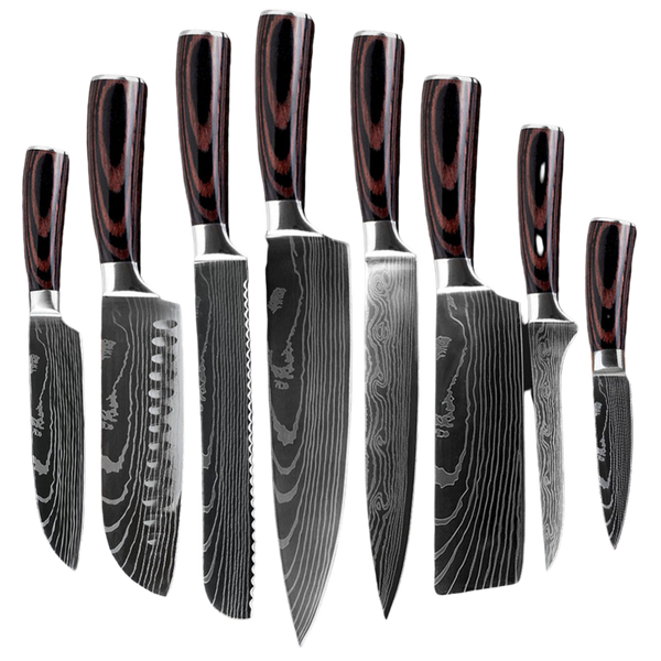 Damascus Steel Chef Knives - Value Set (8 Knives)