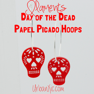 Calaca Papel Picado Hoop Earrings by ILAMENTS (various colors)