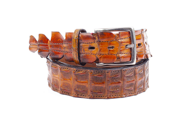 Crocodille Leather Belt - Gold