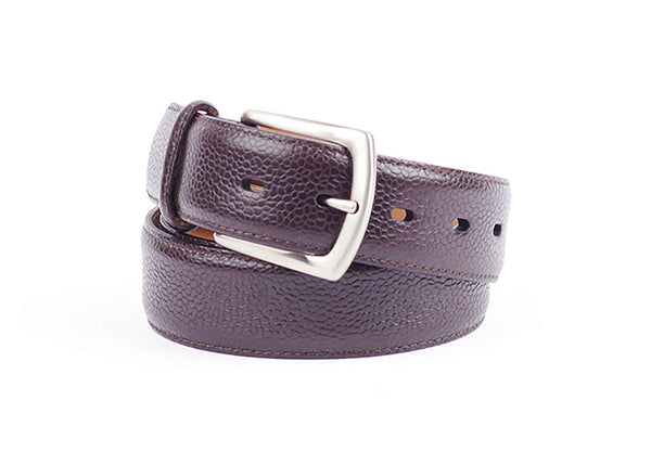 Grain Calf Leather Belt - Dark Brown