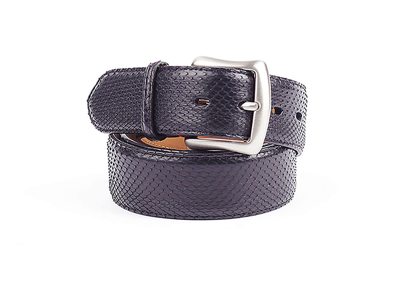 Python Diamond Leather Belt - Black
