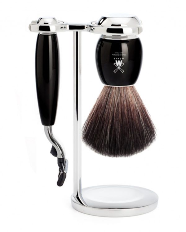 3pc set M3 razor sh brush im ebony pure badger
