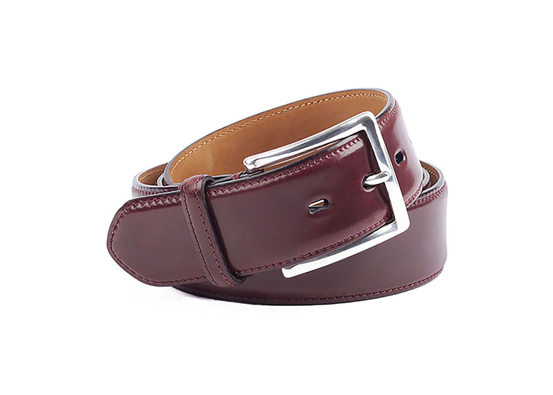 Cordovan Leather Belt - Burgundy