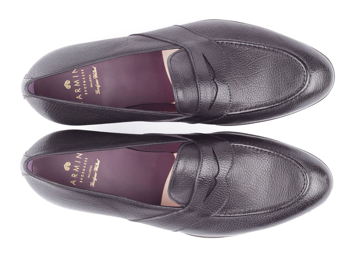 80372 - Full Strap Penny Loafer - Black Lama