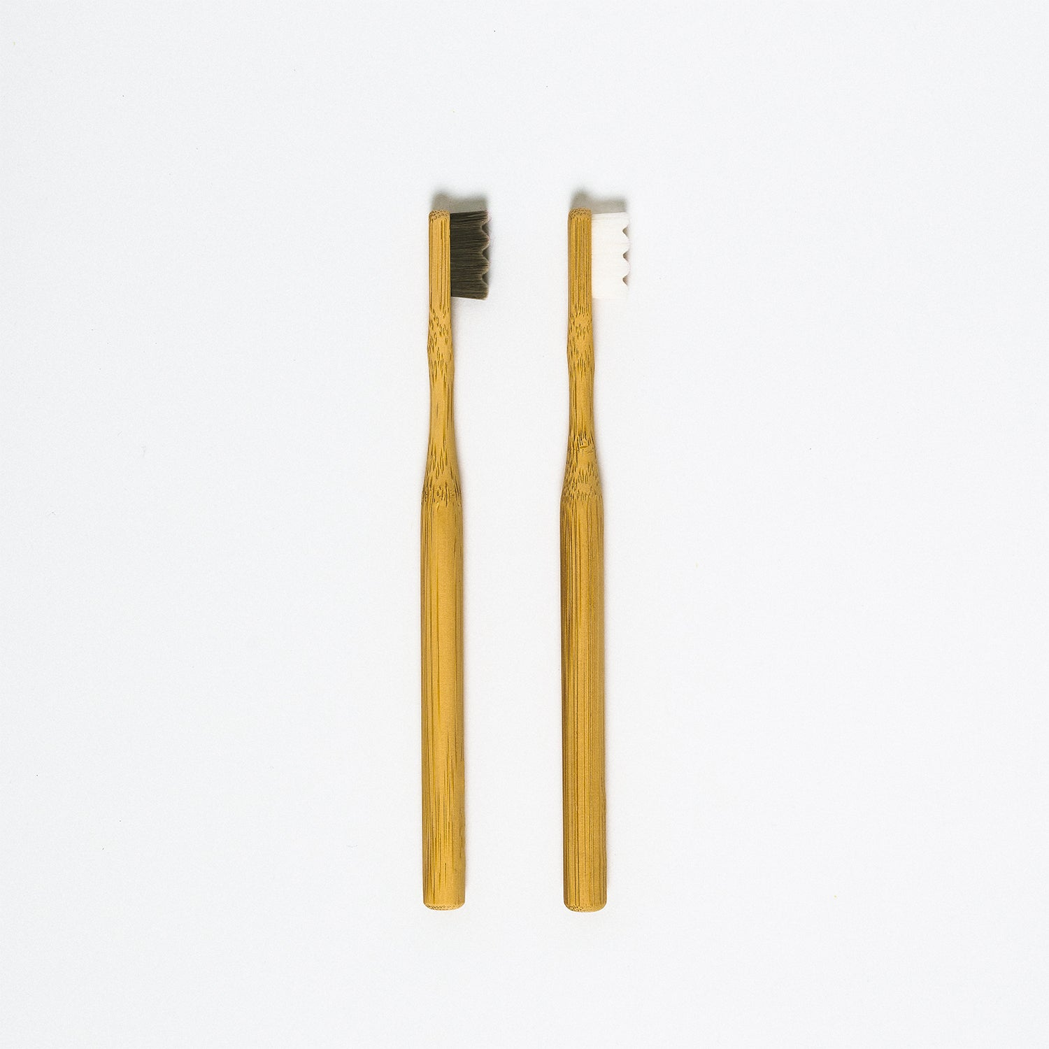A pair of sustainable bamboo toothbrushes