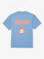Short sleeve recycled pale blue cotton t-shirt with large white and orange 'good times do good' text and an abstract leaf image printed on back