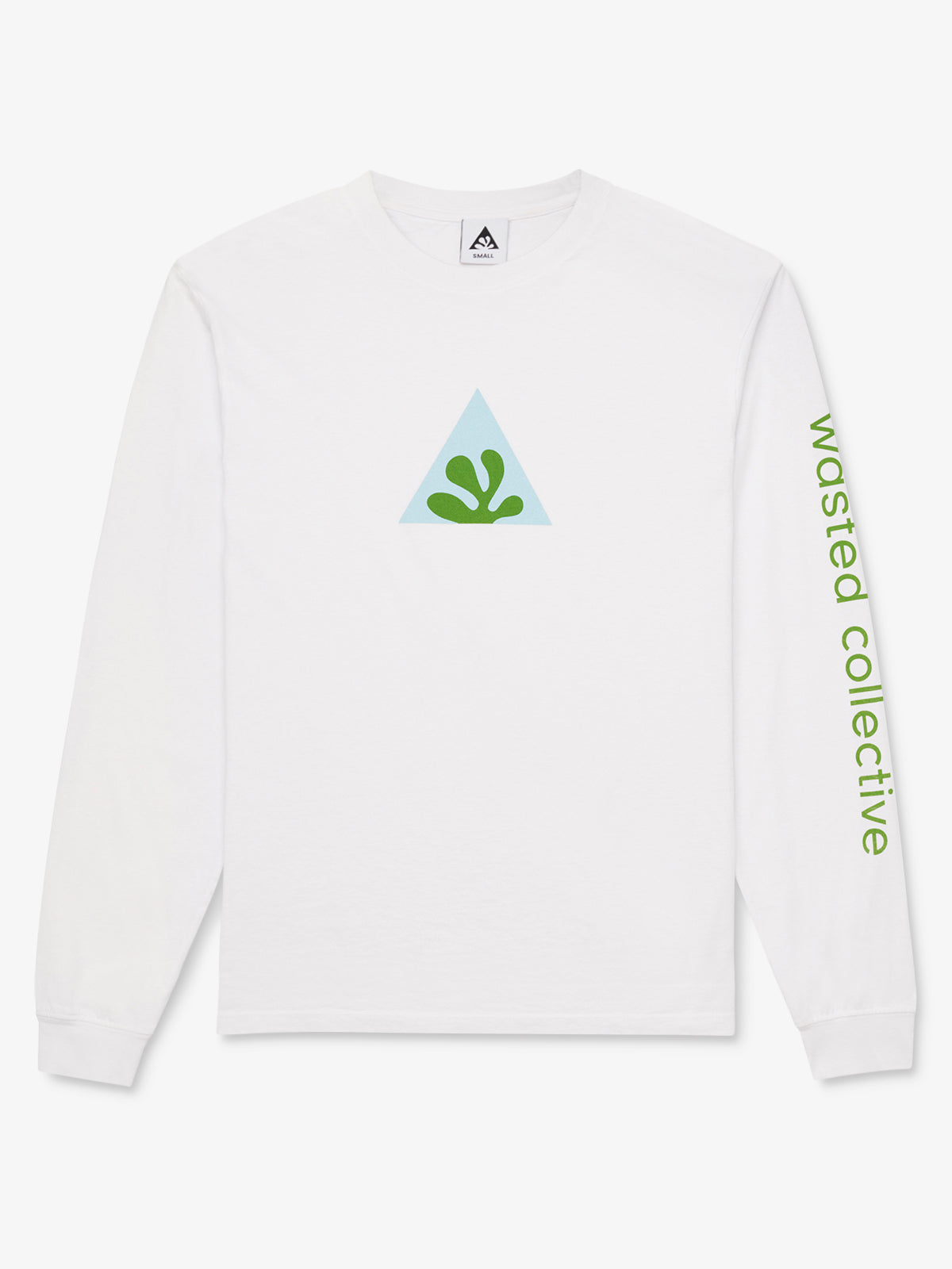 White long sleeve cotton shirt with blue and green leaf graphic on chest and text graphic on sleeve reading 'Wasted Collective'