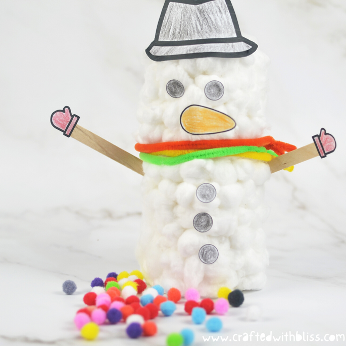 Fluffy Snowman Craft For Kids