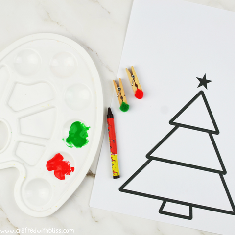 Easy Christmas Pom Pom Painting Activity Supplies