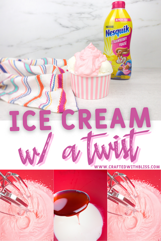 Easy to Make Strawberry Nesquik Whip on Ice Cream For Kids
