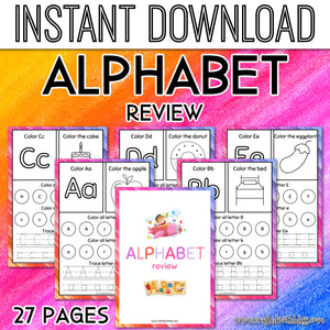 Alphabet Review Printable For Kids, Letters Printable For Kids, Preschool Printable, Homeschool Printable For Kids