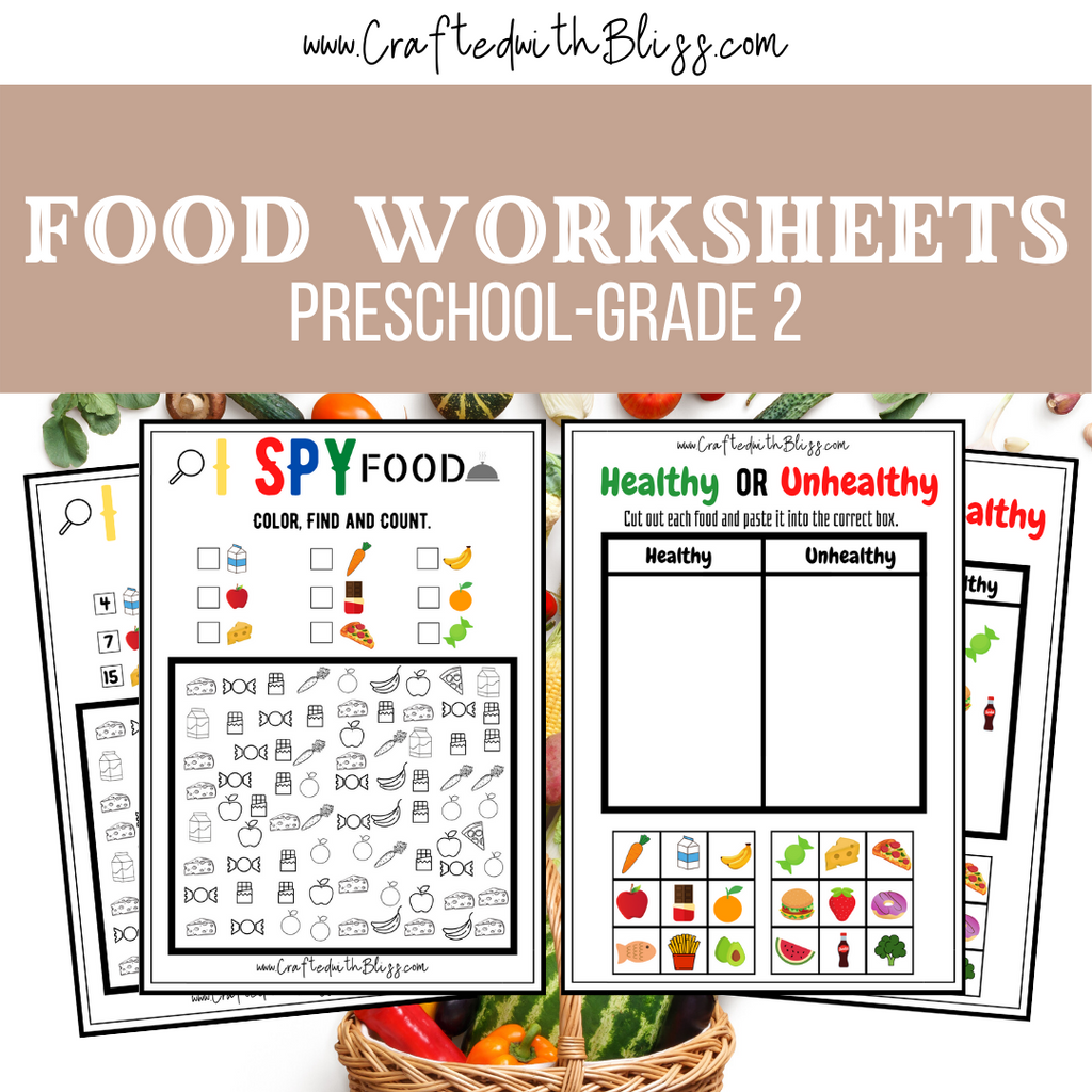 Food Worksheets For Kids - CraftedwithBliss