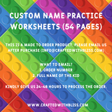 Custom Name Practice Worksheets, Ultimate Writing Worksheets For Preschool Lego Design - CraftedwithBliss