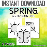 Spring Q-TIP Painting for kids, Spring Q-TIP Fine Motor Activity For Kids