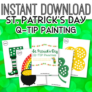 St. Patrick's Day Q-TIP Painting Printable for kids