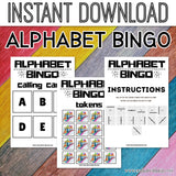Alphabet Bingo For Kids, PreK Classroom Alphabet Bingo