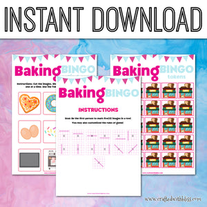 Baking Bingo For Kids, Baking Birthday Bingo Party, Classroom Birthday Bingo Game, Preschool Bingo Activity, Baking Printable