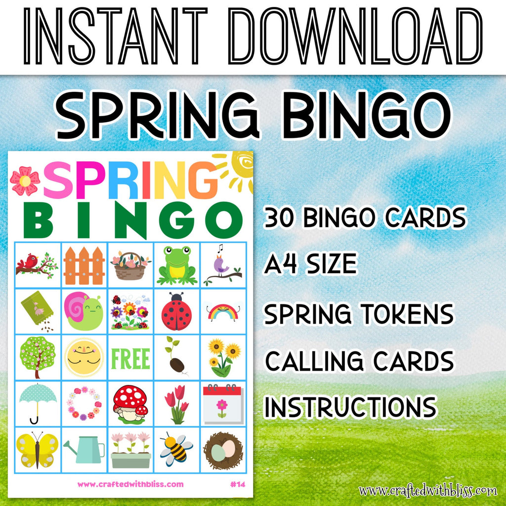 Spring Bingo For Kids, Spring Bingo Birthday Party