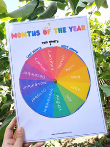 Months of the Year Printable, Months of the Year Wheel, Months of the year Circle Time, Months of The Year Worksheet, Preschool Printable