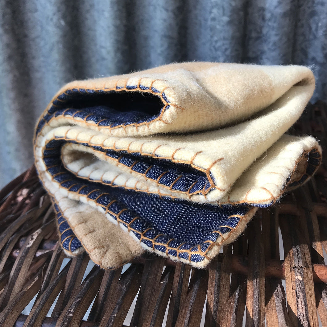 Cushion Cover - Vintage Wool & Denim Gold