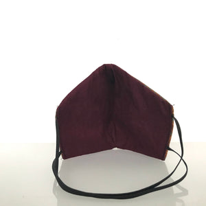 Medium Face Mask - 3 Layers - Batik/ Non woven/Burgundy Cotton