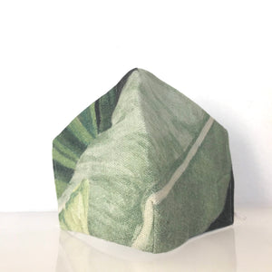 Mask - Linen paradise green/Nonwoven/ 100% cotton