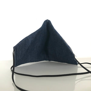 Mask - Blue Grey Weave /Nonwoven / Black 100% Cotton