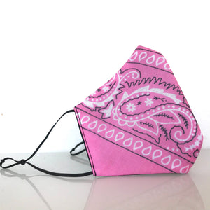 Mask - Pink Bandana /Nonwoven / Black 100% Cotton