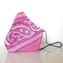 Load image into Gallery viewer, Mask - Pink Bandana /Nonwoven / Black 100% Cotton