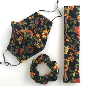 Headband only Matching mask accessories - Sunflower print