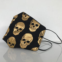 Load image into Gallery viewer, Mask - Black & Gold Skulls/Nonwoven/Black 100% Cotton