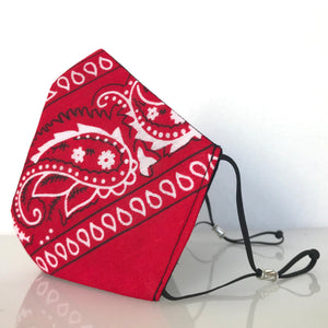 Mask - Red Bandana Print /Nonwoven / Black 100% Cotton