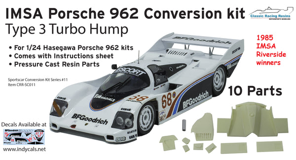 1/24 1985 Riverside winners Porsche 962 IMSA resin Turbo Hump conversion type 3 for Hasegawa & Revell kits GTP