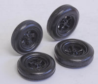 1/25 Early 60's Black indy resin tires Late Halibrand wheels set 2 fronts 2 rear