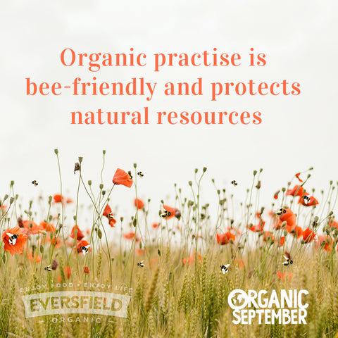 Organic practise is bee-friendly and protects natural resources