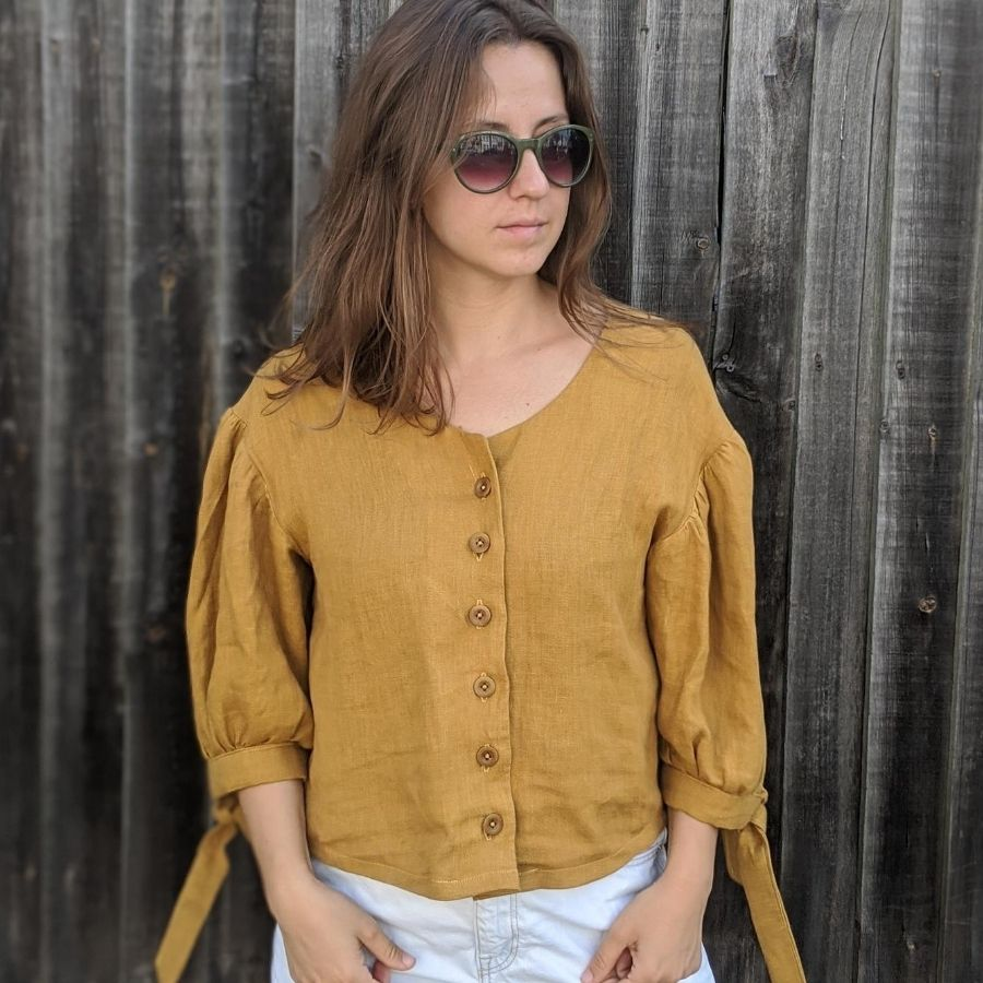 Ambre Blouse in ginger linen