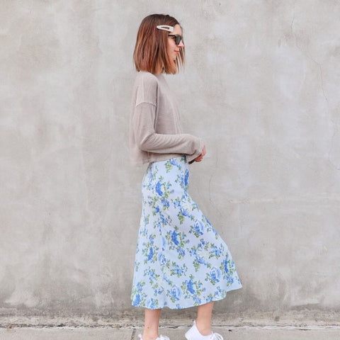 Evie bias cut skirt in floral print