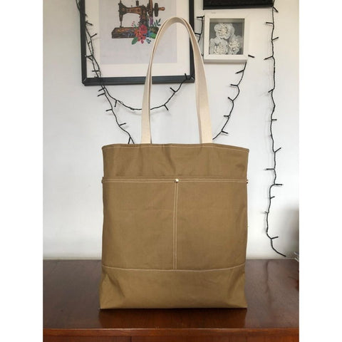 Wool and Wax tote in sand wax cotton