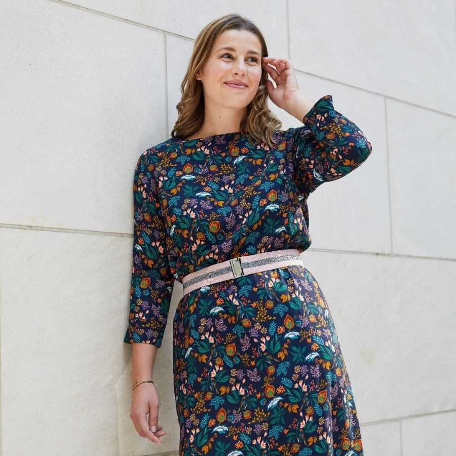 Atelier Jupe Dark Blue viscose in colourful print dress view