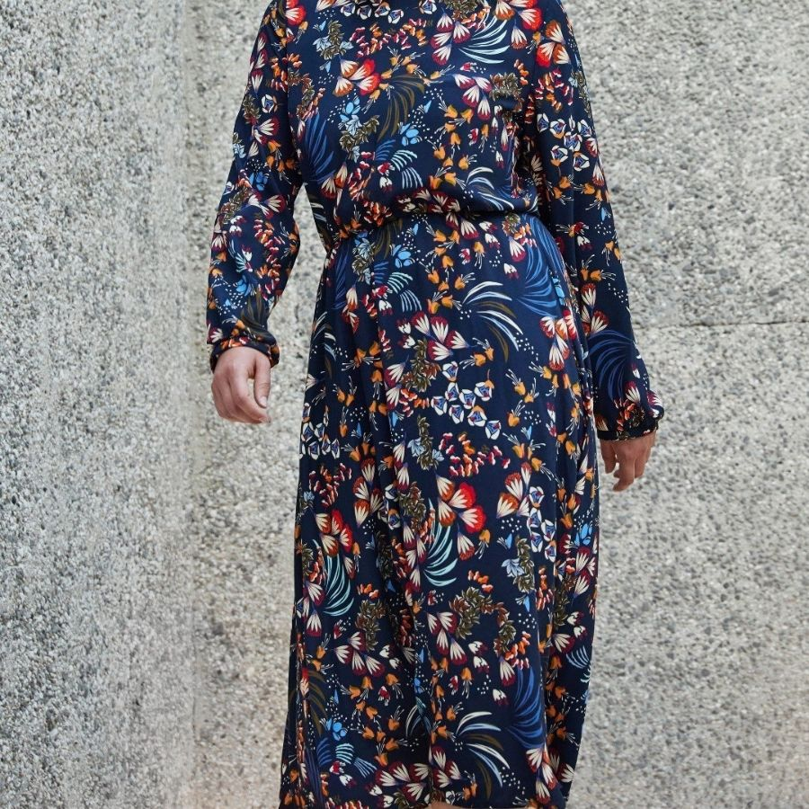 Atelier Jupe navy autumn flowers viscose dress view