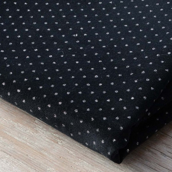 Atelier 27 Cotton velvet in black with silver dots